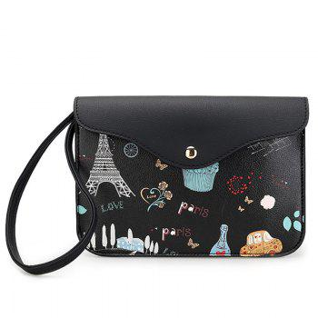 Cartoon Printed PU Leather Wristlet - BLACK BLACK