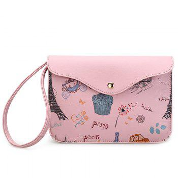 Cartoon Printed PU Leather Wristlet - PINK PINK