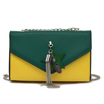 Metal Feather Tassel Cross Body Bag
