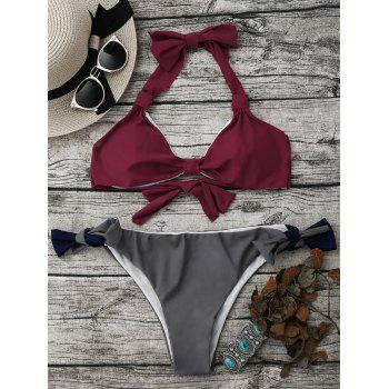 Color Block Halter String Bikini Set