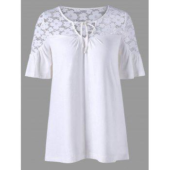 Lace Trim Tie Front V Neck Top
