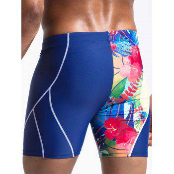 Floral Print Suture Design Panel Swimming Jammer - BLUE M