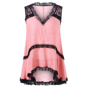 Lace Trim V Neck Sleeveless Top