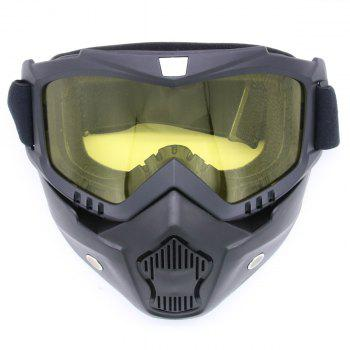 Detachable Breathable Motorcycle Goggles - YELLOW YELLOW