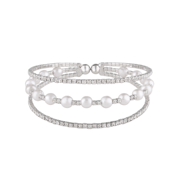 Rhinestone Alloy Layered Faux Pearls Bracelet