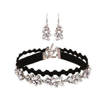 Layered Rhinestone Choker Necklace and Drop Earrings