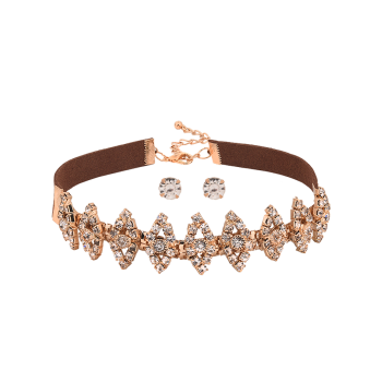 Hollow Out Rhinestone Faux Suede Choker with Earrings