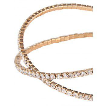 Alloy Rhinestone Double Crossed Loops Bangle - GOLDEN