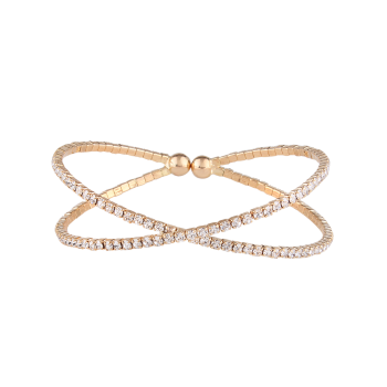 Alloy Rhinestone Double Crossed Loops Bangle