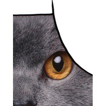 3D Cat Head Waterproof Fabric Kitchen Apron - DEEP GRAY 80*70CM