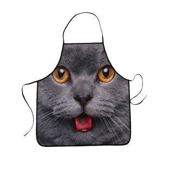 3D Cat Head Waterproof Fabric Kitchen Apron
