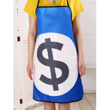 Kitchen Tool Dollar Print Polyester Apron - BLUE 80*70CM