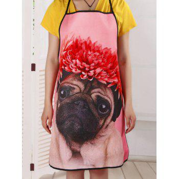 Waterproof Pekingese Print Cooking Apron - PINK 80*70CM