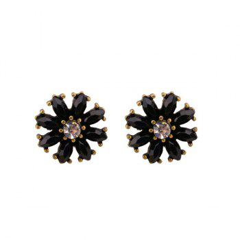 Rhinestone Flower Round Stud Tiny Earrings