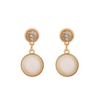 Faux Opal Rhinestone Round Earrings