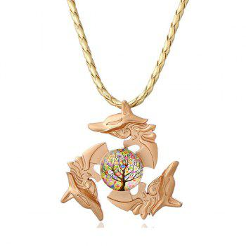 Dolphin Tree of Life Fidget Spinner Decoration Necklace - GOLDEN GOLDEN