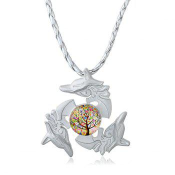 Dolphin Tree of Life Fidget Spinner Decoration Necklace - SILVER SILVER
