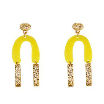 Resin Alloy Bar Horseshoe Drop Earrings