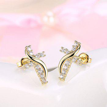 Rhinestoned Crucifix Tiny Stud Earrings