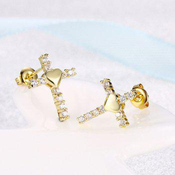 Rhinestone Heart Crucifix Stud Tiny Earrings