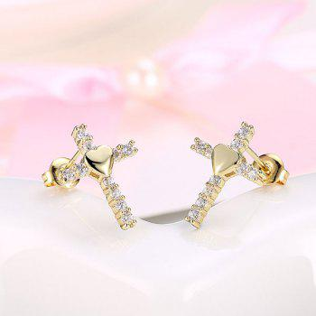 Rhinestone Heart Crucifix Stud Tiny Earrings - GOLDEN