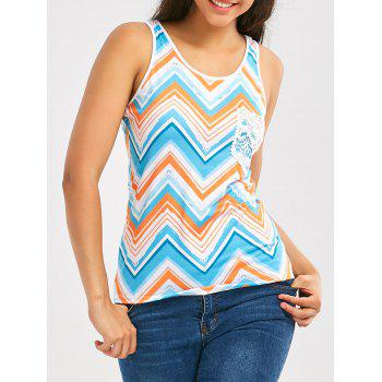 Chveron Print Color Block Tank Top