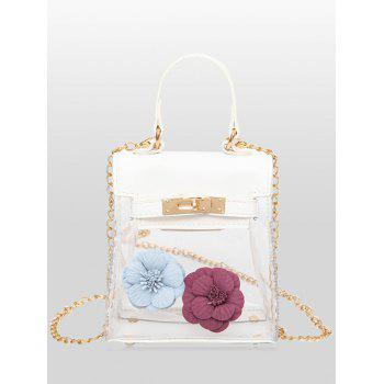 Flower Mini Shoulder Clear Handbag - WHITE WHITE