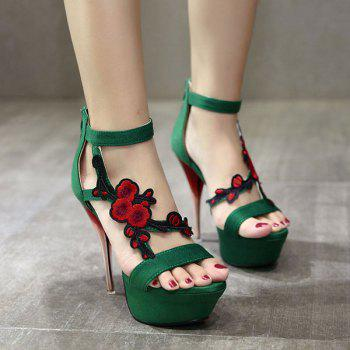 Applique Zipper Sandals