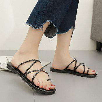 Toe Ring Flat Heel Faux Leather Slippers