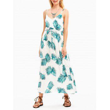 Empire Waist Tropical Leaf Print Slip Dress