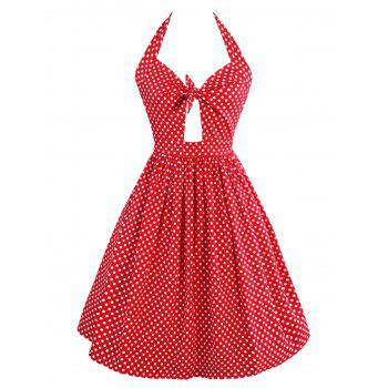 Vintage Polka Dot Cut Out Dress