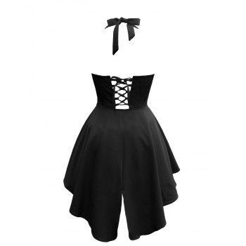 Retro Style Lace Up Asymmetrical Dress