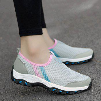 Colour Block Mesh Breathable Athletic Shoes - LIGHT GRAY 40