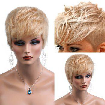 Side Bang Natural Textured Layered Short Slightly Curly Human Hair Wig