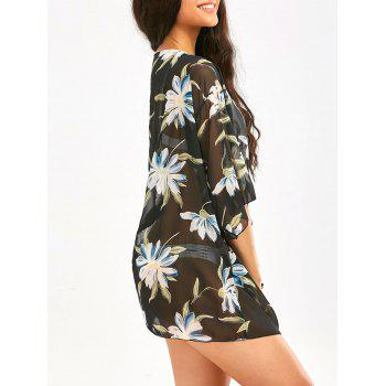 Big Flower Printed Beach Chiffon Cover Up