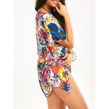 Colorful Flower Print Beach Chiffon Cover Up