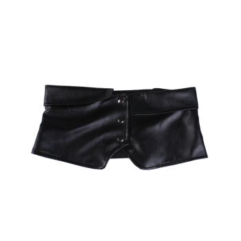 Elastic Oversize Snap Button Corset Belt -  BLACK