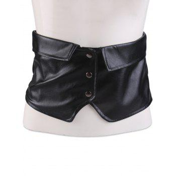 Elastic Oversize Snap Button Corset Belt - BLACK BLACK