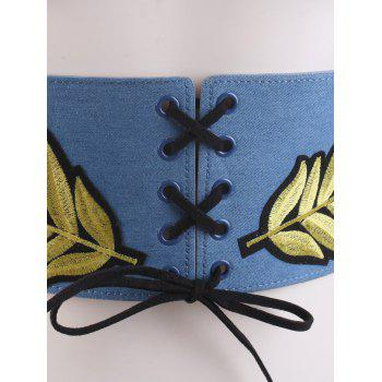Wide Leaf Embroidery Lace Up Corset Belt -  LIGHT BLUE
