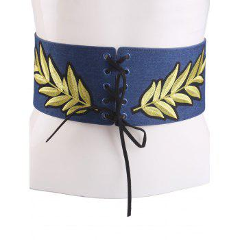 Wide Leaf Embroidery Lace Up Corset Belt - CERULEAN CERULEAN