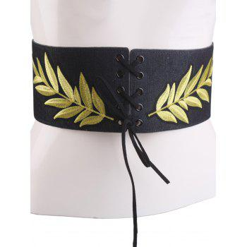 Wide Leaf Embroidery Lace Up Corset Belt