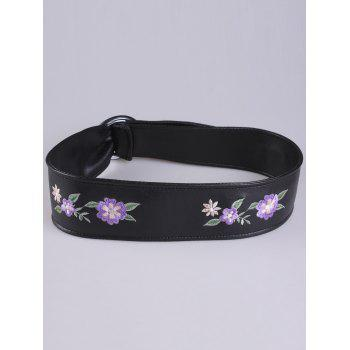 Round Buckle Flower Embroidered Faux Leather Belt - PURPLE PURPLE
