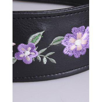Round Buckle Flower Embroidered Faux Leather Belt -  PURPLE