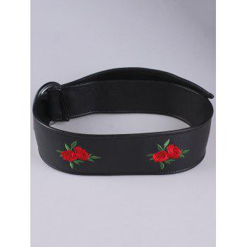 Round Buckle Flower Embroidered Faux Leather Belt