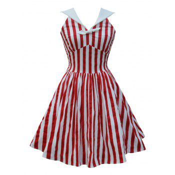 Sailor Collar Backless Striped Pin Up Dress