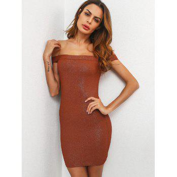 Mini Off The Shoulder Bodycon Dress - BROWN BROWN