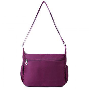 Nylon Cross Body Bag with Side Pockets - PURPLE
