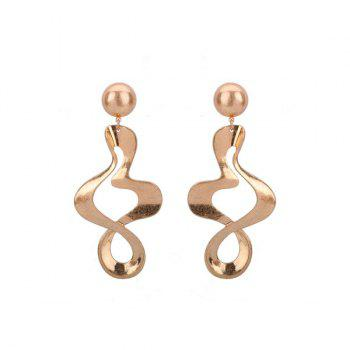 Wave Shape Gold Plated Drop Earrings