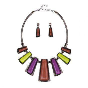 Geometric Enamel Statement Jewelry Set