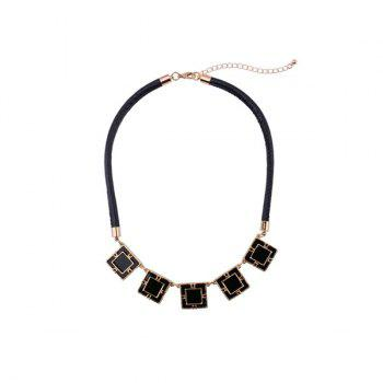 PU Rope Belt Geometry Embellished Necklace